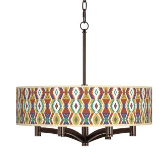 Southwest Bohemian Ava 6-Light Bronze Pendant Chandelier (X9844-45F04)
