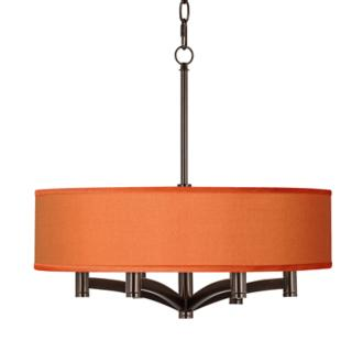 Orange Faux Silk Ava 6-Light Bronze Pendant Chandelier (X9844-8G244)