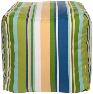 "Cool Multi-Color Stripes 18"" Square Surya Pouf Ottoman (Y2975) Y2975"