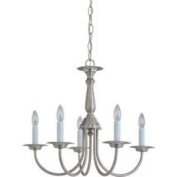 "Traditional 5-Light 18 1/2"" Wide Brushed Nickel Chandelier"