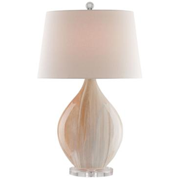 Currey and Company Opal Amber Oval Ceramic Table Lamp