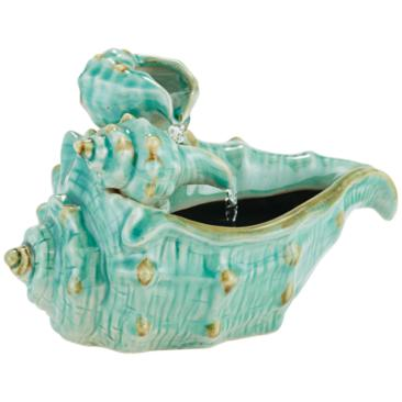 "Seashells 7""H Teal Ceramic Indoor/Outdoor Tabletop Fountain"
