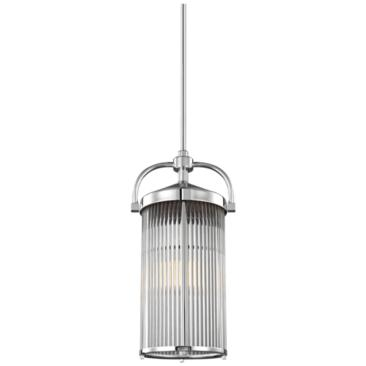"Feiss Paulson 9 3/4""W Glass Rod and Chrome Pendant Light"
