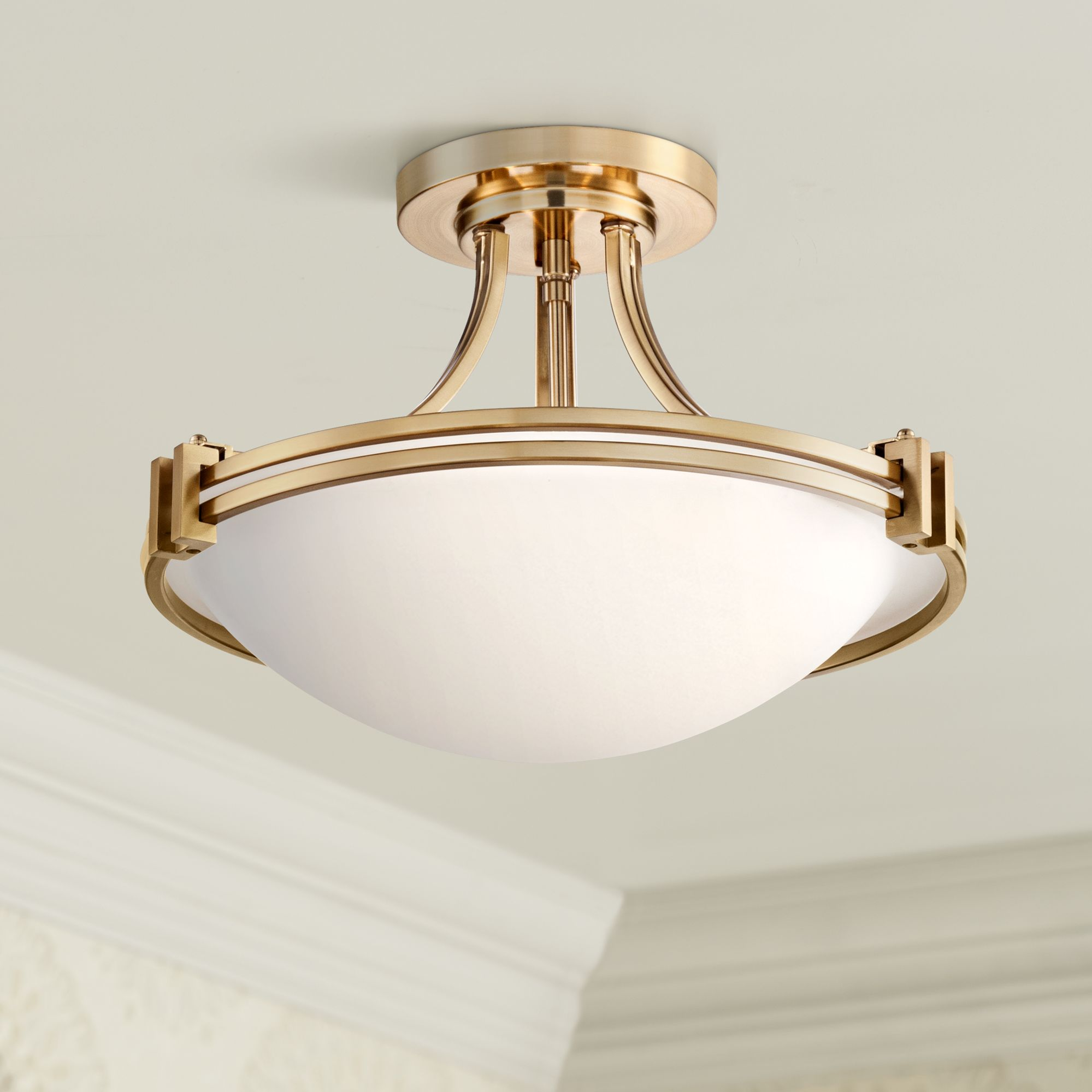 Brass Antique Brass Semi Flush Mount Close To Ceiling Lights Lamps Plus