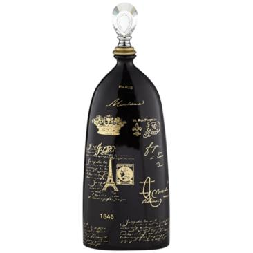 "French Script 23"" High Decorative Black Ceramic Bottle"