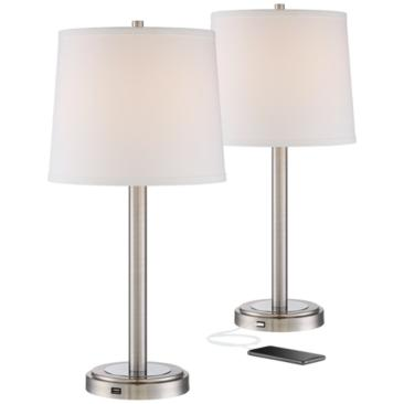 Camile Metal USB Port Table Lamps Set of 2