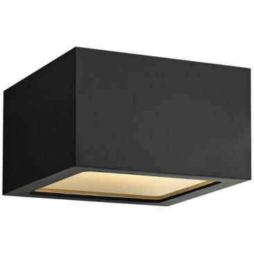 "Hinkley Kube 6"" Wide Satin Black LED Outdoor Ceiling Light"