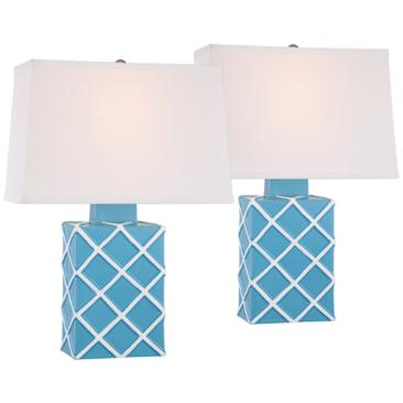 Corden Aqua Blue Ceramic Accent Table Lamp Set of 2
