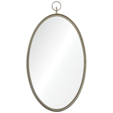 "Port Jackson Antique Silver 22"" x 40"" Oval Wall Mirror"