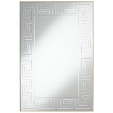 "Mykos Champagne Greek Key Etched 28"" x 42"" Wall Mirror"