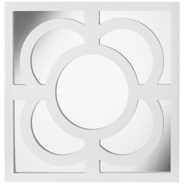 "Bowsher 23 1/2"" Square White Lacquered Wall Mirror"