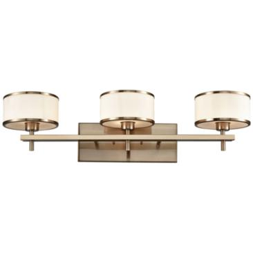 "Utica 29"" Wide Satin Brass 3-Light Bath Light"