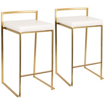 "Fuji 27"" White Faux Leather Counter Stool Set of 2"