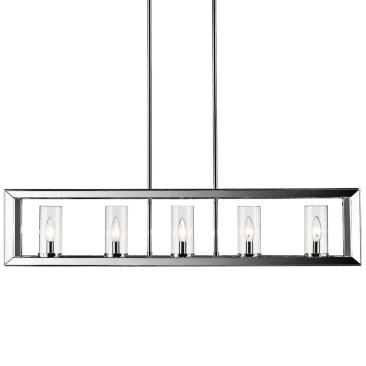 "Smyth 41"" Wide Chrome 5-Light Kitchen Island Light Pendant"