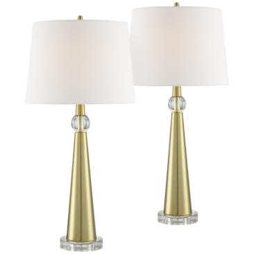 Neva Metal Tapered Column Table Lamp Set of 2