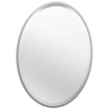 "Luxe Flush Mount Nickel 20 1/2"" x 27 1/2"" Framed Wall Mirror"