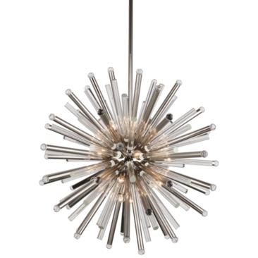 "Maxwell 36"" Wide Polished Nickel 21-Light Pendant"