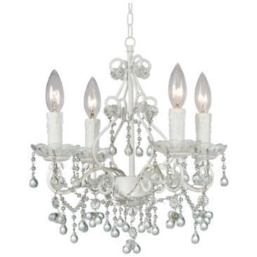 "Paris Market 14"" Wide Wet White 4-Light Crystal Chandelier"
