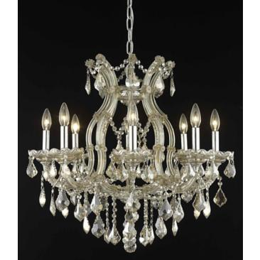 "Maria Theresa 26"" Wide Golden Teak Crystal Chandelier"