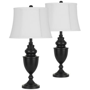 Dark Bronze Metal Urn Table Lamp Set of 2