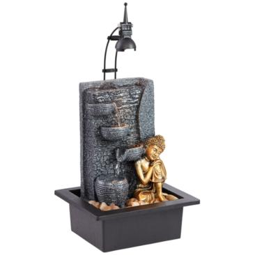 "Kneeling Buddha 17""H Gold Indoor/Outdoor LED Table Fountain"
