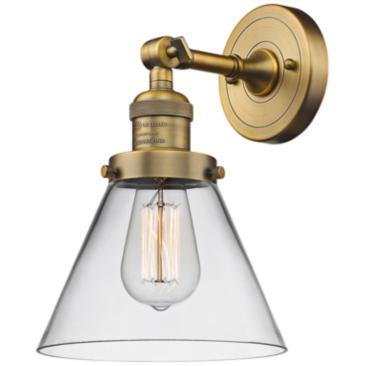 "Large Cone 10"" High Brushed Brass Adjustable Wall Sconce"