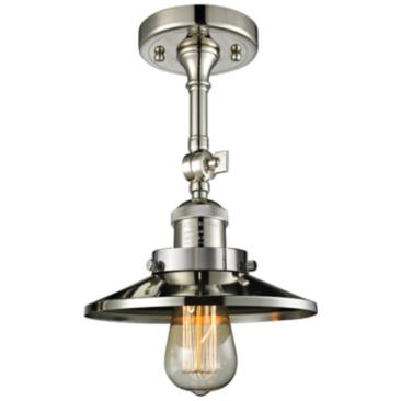 "Railroad 8"" Wide Polished Nickel Adjustable Ceiling Light"