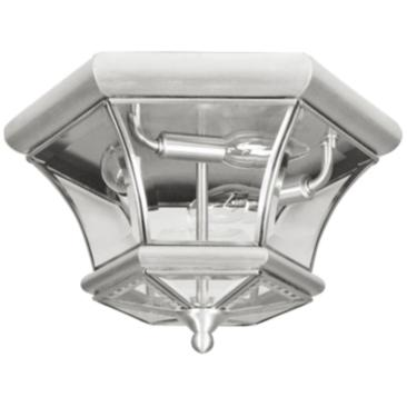 "Monterey 12 1/2""W Nickel Outdoor Ceiling Light"