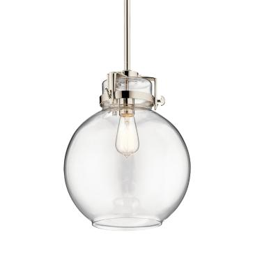 "Briar 12"" Wide Polished Nickel Mini Pendant w/ Round Shade"