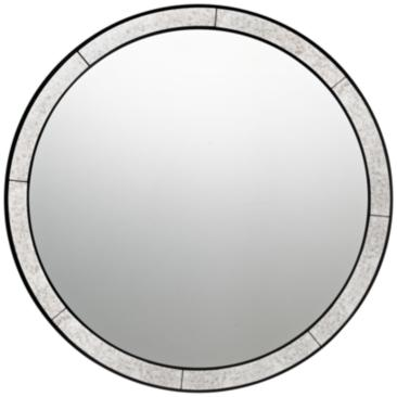 "Quoizel Revival Black 30"" Round Wall Mirror"