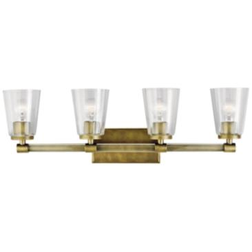 "Kichler Audrea 30 1/4"" Wide Natural Brass 4-Light Bath Light"