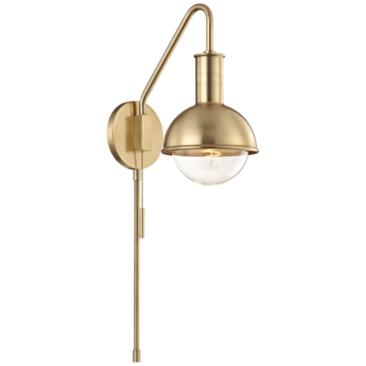 Hudson Valley Mitzi Riley Aged Brass Swing Arm Wall Lamp