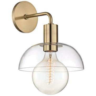 "Mitzi Kyla 13"" High Aged Brass Wall Sconce"