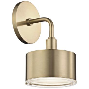 "Mitzi Nora 9"" High Aged Brass LED Wall Sconce"