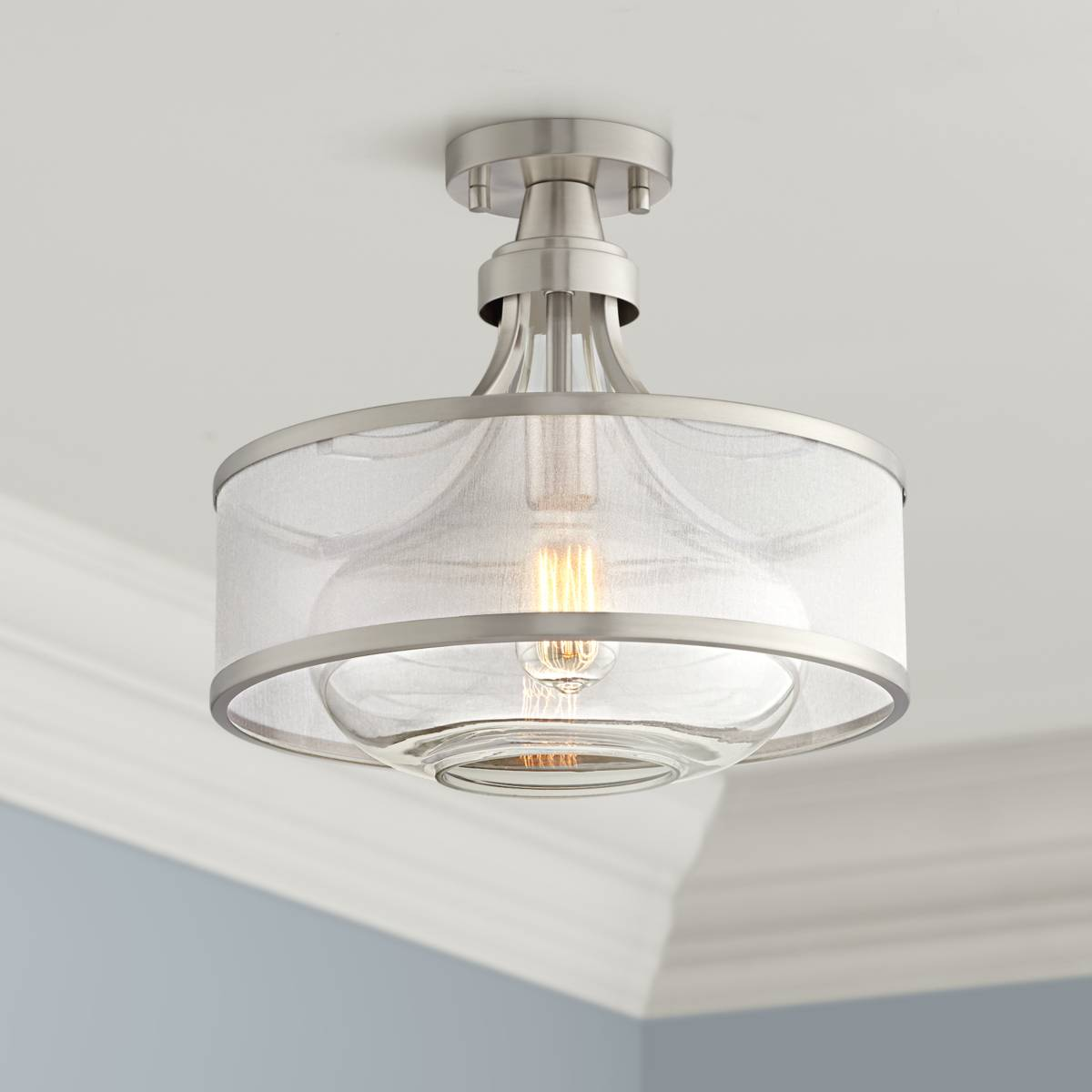 Gray semi flush mount close to ceiling lights lamps plus