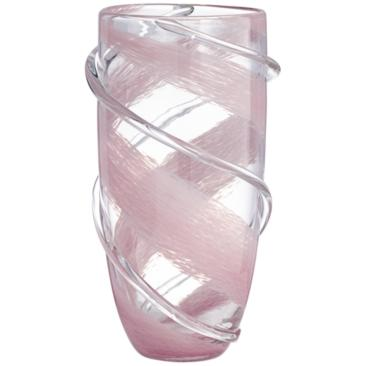 "Nettie 11 3/4"" High Pink Stripe Clear Glass Vase"