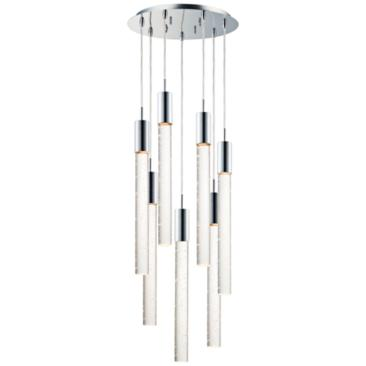 "ET2 Big Fizz 16"" Wide Chrome 7-Light LED Multi Light Pendant"
