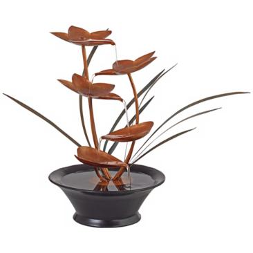 "Bloomfield Copper Flower 13"" High Tabletop Fountain"