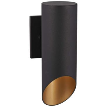 "Pineview Slope 12 1/2""H Black and Gold Outdoor Wall Light"