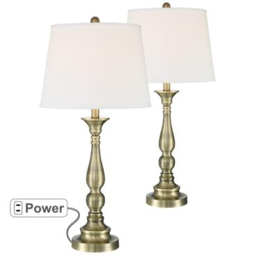 Sophie Brass Metal Table Lamp Set of 2