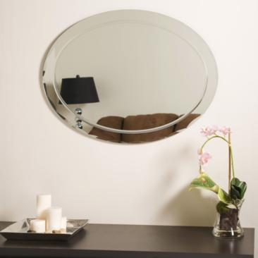 "Frameless Aldo 23 1/2"" x 31 1/2"" Oval Wall Mirror"