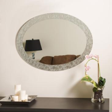 "Crystal 23 1/2"" x 31 1/2"" Oval Frameless Wall Mirror"