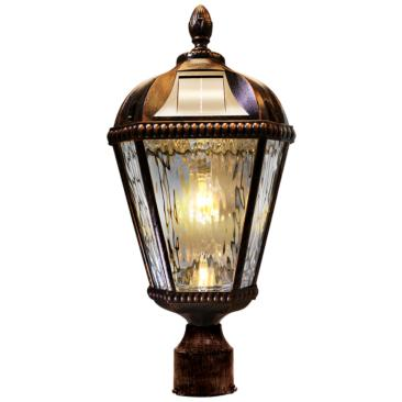 "Royal Bulb 18""H Brushed Bronze Solar LED Outdoor Post Light"