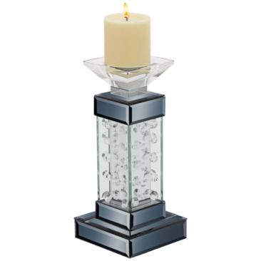 "Theron Black Jeweled 11"" High Pillar Candle Holder"