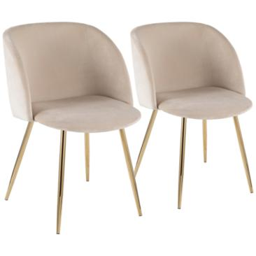 Fran Gold Metal and Cream Velvet Dining Chairs Set of 2