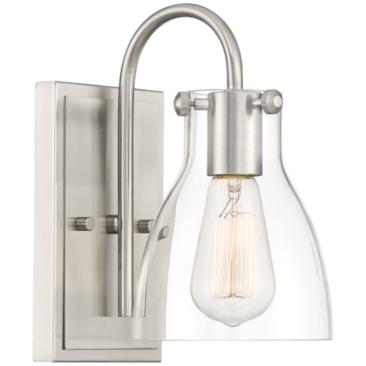 "Cyn 10"" High Brushed Nickel and Clear Glass Wall Sconce"