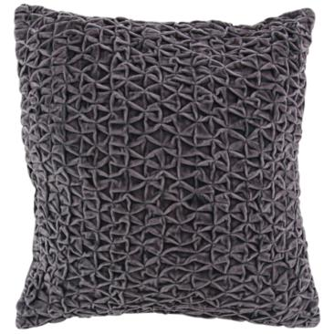 "Gray Cotton Velvet 20"" Square Decorative Pillow"