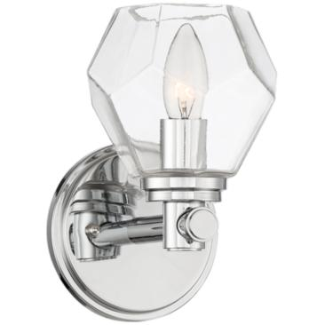 "Jovan 8 1/4"" High Faceted Glass and Chrome Wall Sconce"