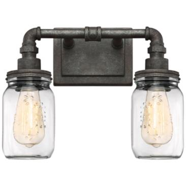"Quoizel Squire 11"" High Rustic Black 2-Light Wall Sconce"