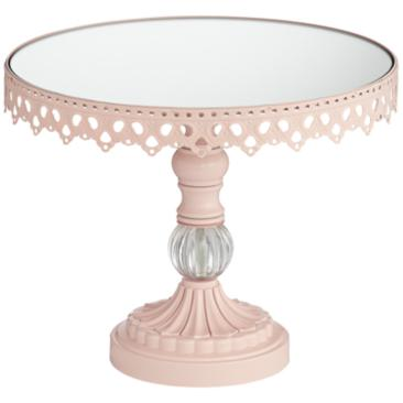 Cotton Candy Pink Mirror 8 1/2 x 10 Round Cake Stand